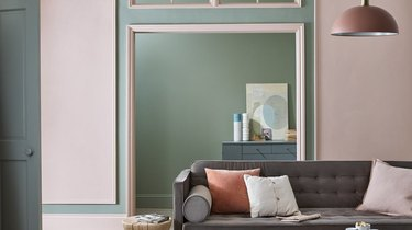 """Farrow & Ball - """"Setting Plaster"""" (pink) and """"Lichen"""""""