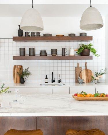 minimalist kitchen with marble kitchen island