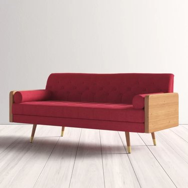 Bel-Air red sofa with wood accents