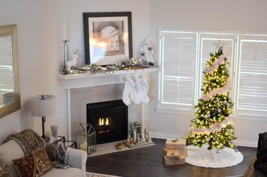White Christmas tree decorations tree skirt