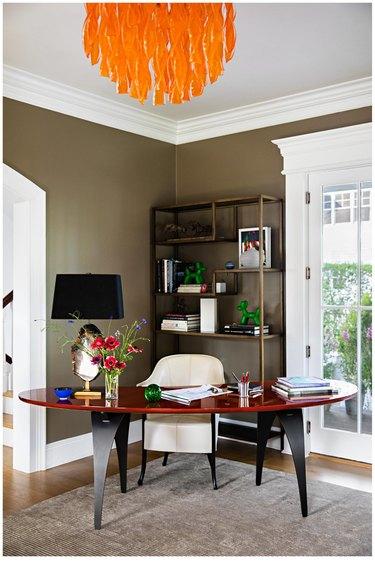 living room corner office setup
