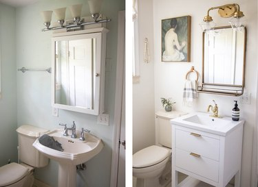 Before and after of bathroom sink, mirror and lighting fixture