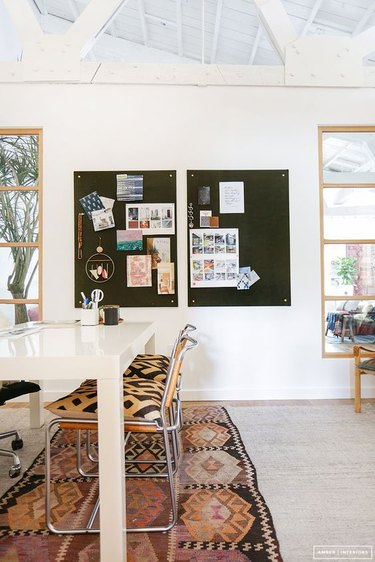 sophisticated Contemporary office with contemporary pin board