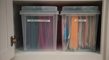 labeled storage boxes