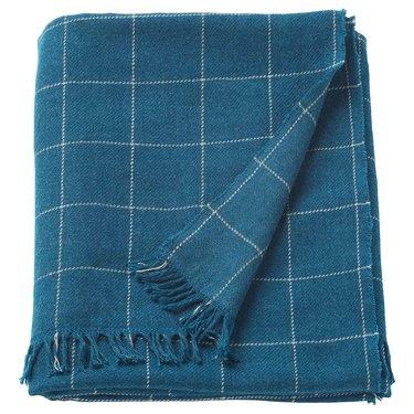 ikea varkrage checked throw blanket blue