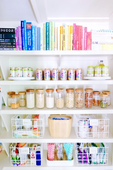 small pantry closet organized by color