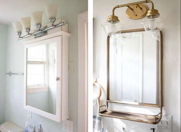 Before and after of bathroom light and mirror