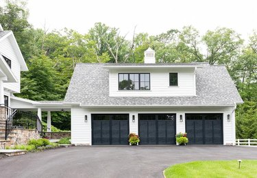 Detached Garage Ideas with three-door freestanding garage with sloping roof
