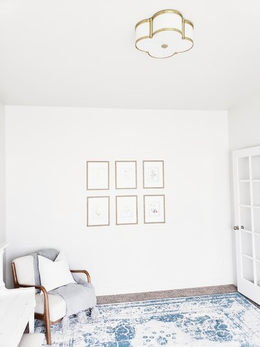 living room lighting idea with flush mount fixture on ceiling