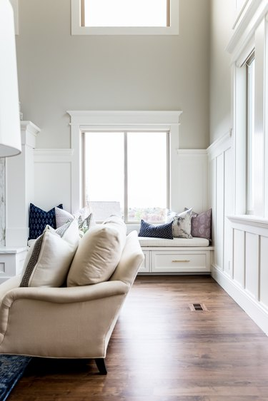 Coastal living room color idea with greige details