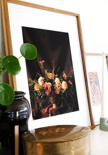 Moody floral art print in frame