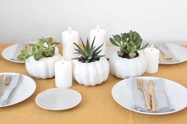 White Scandinavian-style pumpkins holding succulents