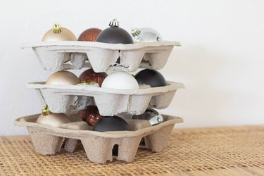 Ornaments stored and stacked inside drink holders
