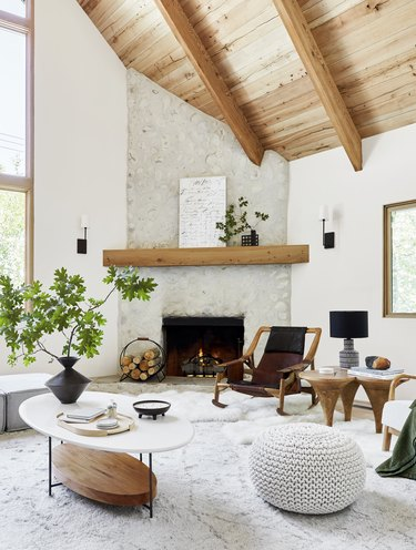 White and wood Scandinavian living room