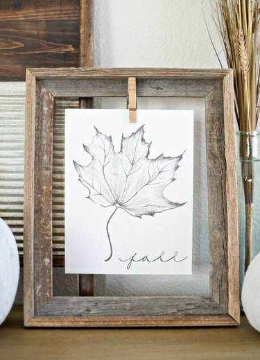 drawing of fall leaf displayed in rustic wooden frame