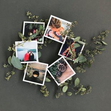 photos added to a eucalyptus wreath