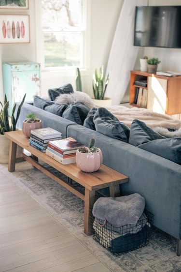 small living room idea for storage with bench behind couch living room storage ideas