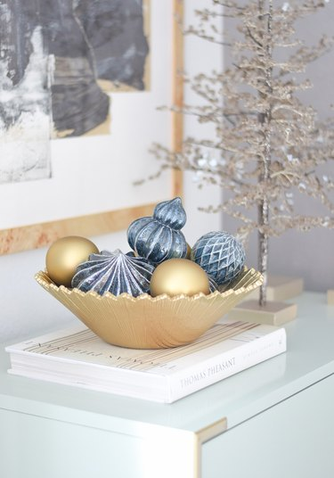 display sentimental family ornaments in a decorative bowl