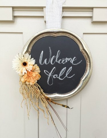 fall inspired front door welcome sign