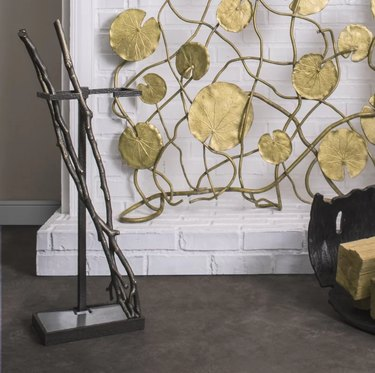 designer fireplace tool set shaped like branches