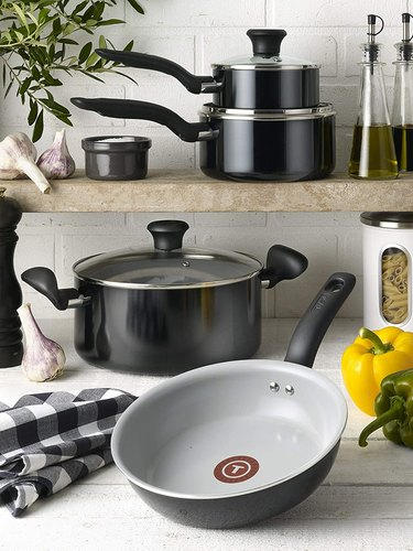 black ceramic pots and pans set from t-fal
