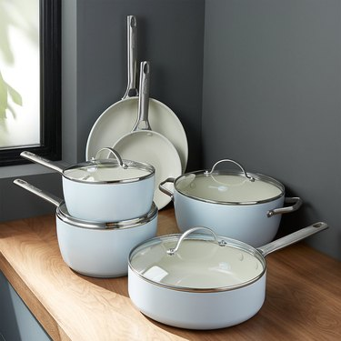 light blue ceramic pots and pans set from greenpan