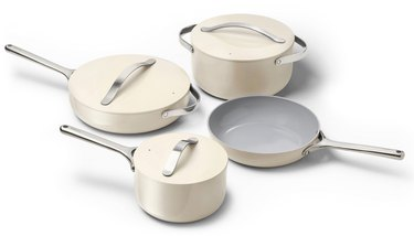 nonstick ceramic cookware set in white from Caraway