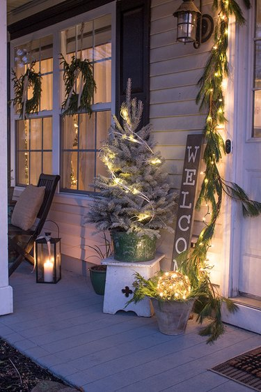 Christmas Light Ideas on small porch with wreaths