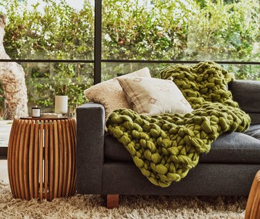 green chunky knit throw