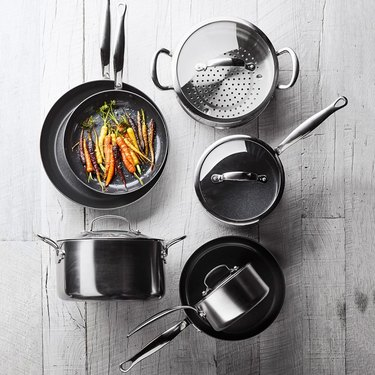 black ceramic pots and pans set from williams-sonoma