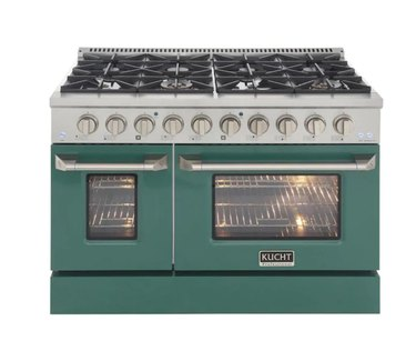 Double oven stove in stainless steel and green