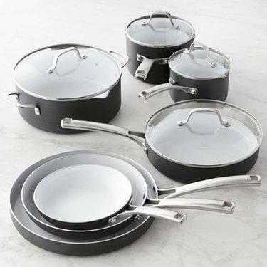 black ceramic pots and pans set from calphalon