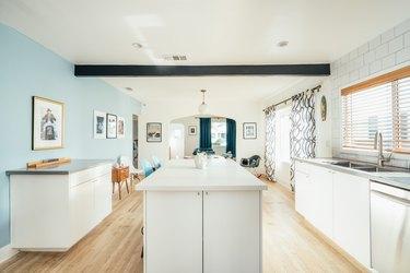 Simple white contemporary kitchen island
