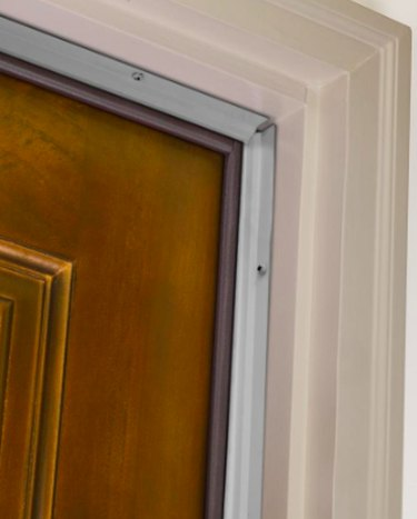 Door with weatherstripping.