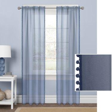 Mainstays Sheer with Pom-Poms Single Window Curtain Panel, $10.89