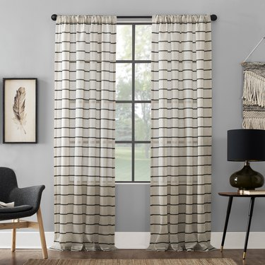 Clean Windows Twill Stripe Anti-Dust Curtain Panel, $28.28