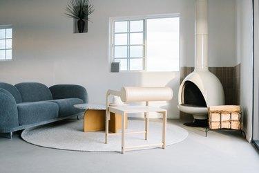Desert boho living room with white fireplace