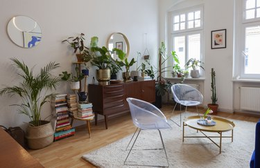 berlin living room with credenza and plants