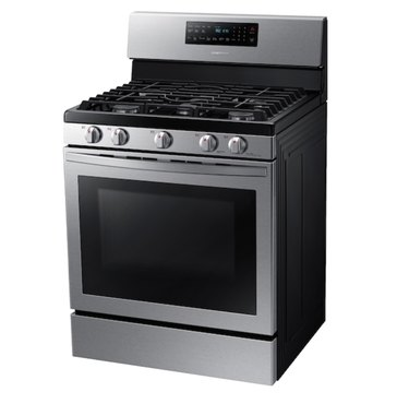 Freestanding Stainless Steel Gas Stove with front controls.