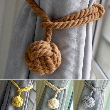 Willstar Cotton Rope Curtain Tie Backs (set of 2), $10.88