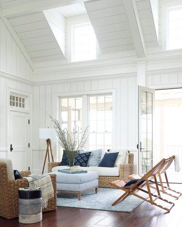 rustic living room lighting idea with wooden floor lamp near sofa