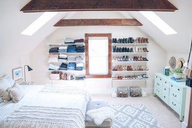Open shelving making a closet