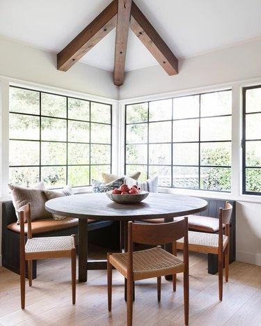 dining room with pomegranate centerpiece