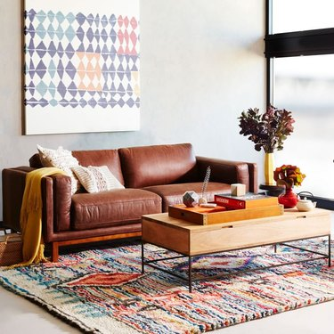 small living room idea with coffee table for storage