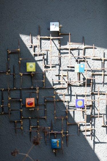 Brutalist copper wall sculpture by Nikka Fremel