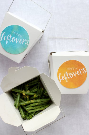 take out boxes with printable labels for holiday leftovers