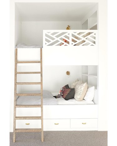 white bedroom with built in bunk beds