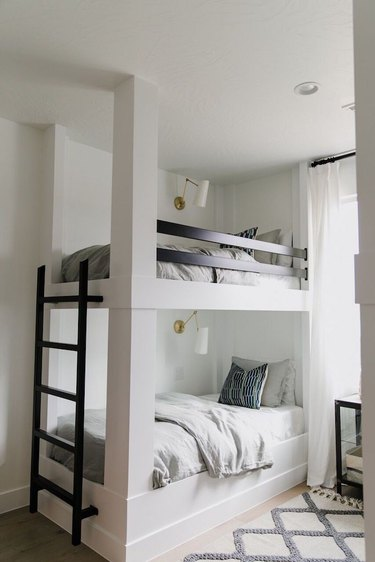 modern black and white kids bedroom with bunk beds