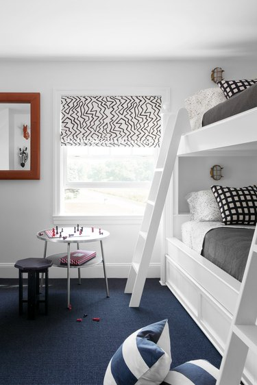 white kids bedroom with bunk beds