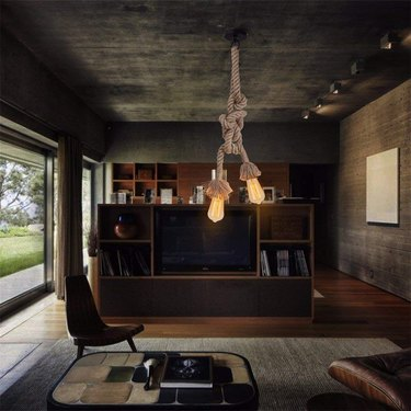 living room lighting idea with rope pendant light hanging from ceiling